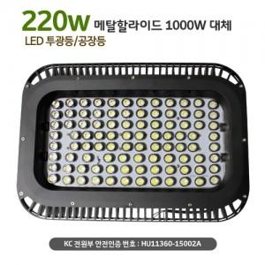 LED 산업용 220W AC[HR-2200] LED투광등[메탈할라이드 1000W대체] 방수됨,사각 노출형, 95구